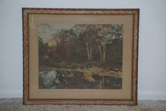 Large Wallace Nutting Hand Tinted Photograph A Little Maine Cover Framed Platinotype