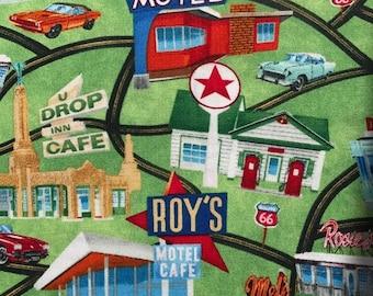 Vintage street.  vintage dinner. 1950s cars