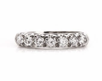 Vintage Diamond 14 k White Gold Wedding Band