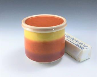 French Butter Keeper, Porcelain Butter Dish, Orange Ceramic Butter Keeper, French Butter Dish, Ceramic Butter Crock, Pottery Butter Holder