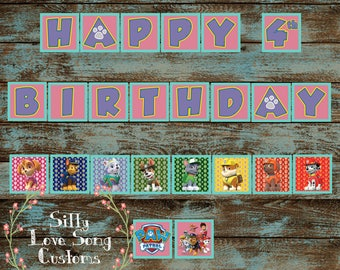 Paw Patrol Themed Printable Birthday Banner! Includes Birthday Year & CUSTOM Name! Perfect for Any Birthday - DIGITAL FILE