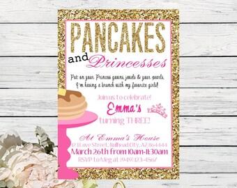 Pancakes & Princesses Birthday invitation-Gold Glitter and Pink ***Digital File*** (pancake-Princess)
