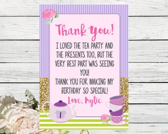 Tea Party Thank You Card Personalized. ***Digital File*** (Tea-TwoGreenThx)
