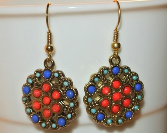 Gold Pink/Red Royal Blue, Turquoise Circle Earrings