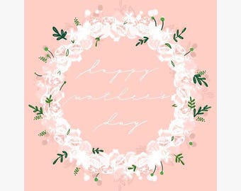 Happy Mother's Day Card - Foral lace wreath