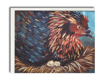 Hen with Chicks Notecards - Chicken Cards - Farm Animal Stationary