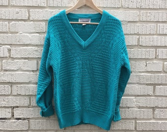 80s Teal Sweater. 1980s Green Pullover Sweater. Cable Knit.Expressions. Medium
