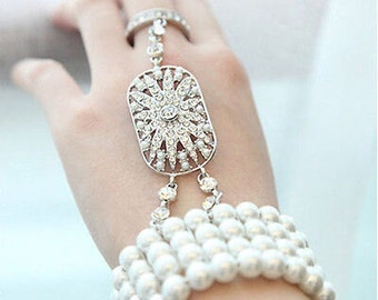 Gatsby Bracelet, Vintage style Great Gatsby Daisy Buchanan Bracelet, Roaring 20's Bracelet, Art Deco Bracelet, Ring Bracelet