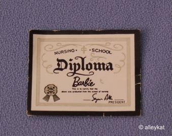 Vintage Barbie Registered Nurse Diploma, Fashion #991, Near Mint