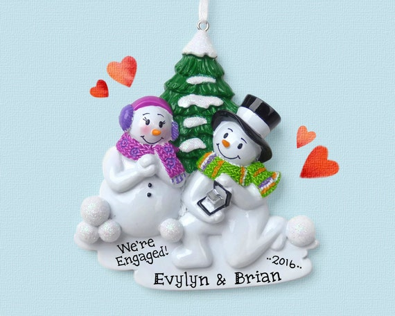 Engagement Snowman Couple Personalized Ornament She Said