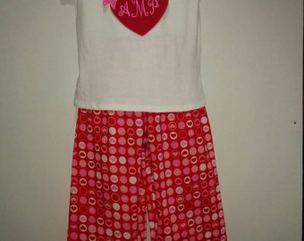 Personalized Girls Valentines Day Love Hearts PJs Boutique Slumber Birthday Party Cotton Pajamas Ruffle Pant Set with Initials