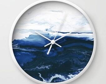 Blue and White, Wall Clock , Unique Clock, Modern, Minimalist Art, Wall Decor.