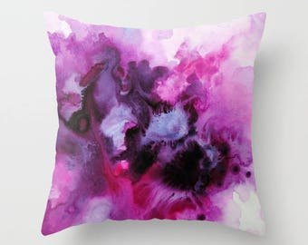 Watercolor Pillow, Throw Pillow, Purple and Pink,Watercolor Art, Decorative Pillow, Home Decor, Accent Pillow, Pillow Covers
