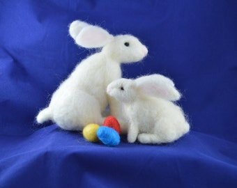 1 White Rabbit Easter Bunny with Easter Eggs Complete Needle Felting Kit or 2 Baby White Rabbit Easter Bunnies with Easter Eggs
