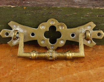 Antique, Brass,  Eastlake, Quatrefoil, front mount, bail and eyelet back plate pulls Item96b