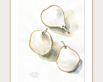 Pears watercolour painting N3 - ORIGINAL ink and watercolor drawing of pears - fruits still life painting in sepia tones by Catalina