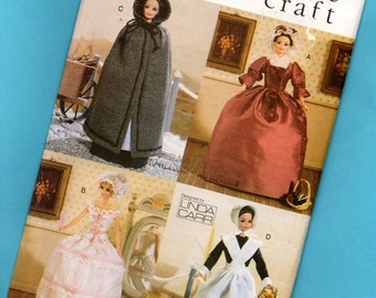 Vintage Vogue Craft Linda Carr Fashion Doll Historical Outfits 7039 Cape Victorian Gown Corset Dress Pioneer Outfit For Barbie Dolls