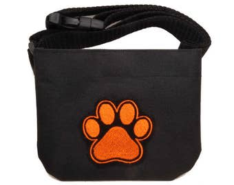 Magnetic closure embroidered dog treat bag dog treat pouch with belt. For dog shows, dog training and walking. Great gift for any dog lover.