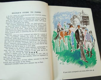 Paris Travel Reference Book - Nicole's Guide to Paris 1951 - Vintage Tourist Guide - Printed in France
