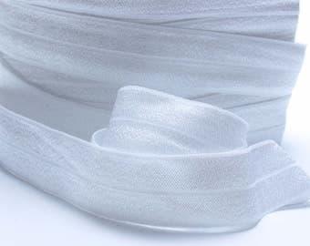 5 Yards of FOE - White Fold Over Elastic, FOE, 1 Inch, Shiny Elastic, Elastic for sewing hair bands, headbands etc. Diaper Cover Elastic