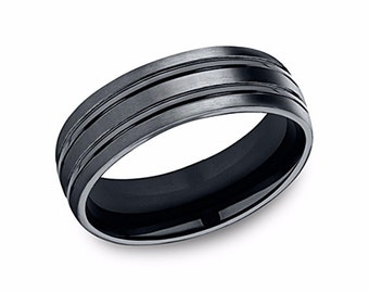 mens black ceramic band black wedding band black wedding ring mens black bands - Black Wedding Ring For Him