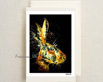 The Hare, woodland animals.  Fine art Greetings card