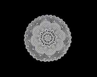 Vintage handmade crocheted doily -- white doily with stylised central flower and netted edge -- 15 inches  / 38 cm
