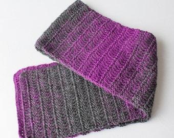 Man Scarf, Woman Scarf, Teen Scarf, Crochet Scarf, Purole Scarf, Grey Scarf, Crochet Man Scarf, Crochet Woman Scarf, Valenine Scarf, Scarf