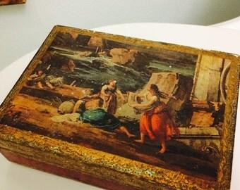 Italy Florentine Box, Red Gold Gilt Italian Box, Wood Box, Florentia Hinged Trinket Box