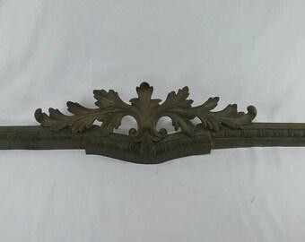 Vintage ornate cast brass architectural piece frame ? Fireplace ? Leaves ornamental
