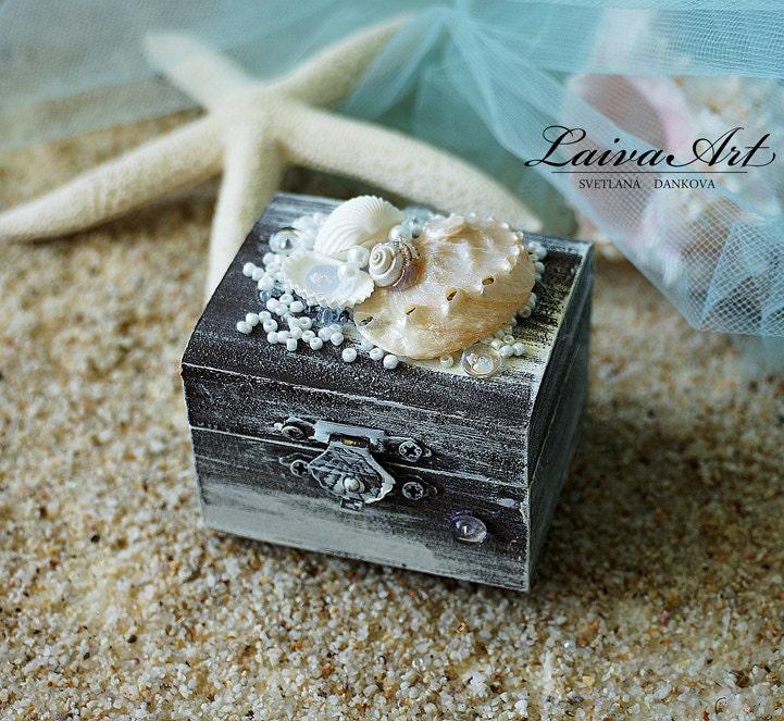 Beach wedding ring box custom ring box rustic ring bearer ring for Custom engagement ring box