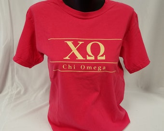 Christmas in July Sale!  Chi Omega Comfort Color Short Sleeve Tshirt, Paprika