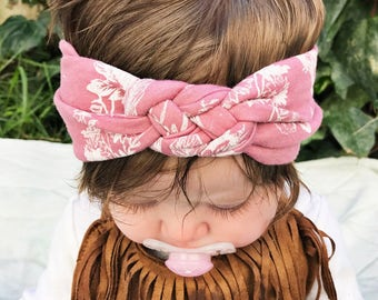 Antique Pink - baby sailors knot headband