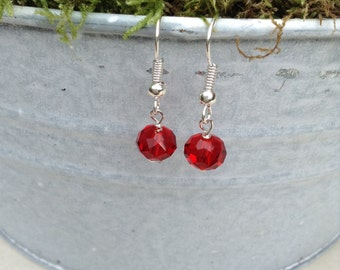 Sparkly Red Crystal Earrings
