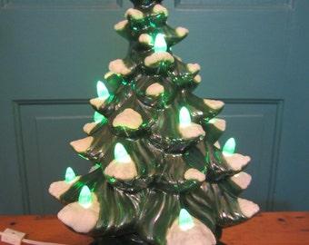 Vintage Ceramic Christmas Tree Table Top Lighted Tree