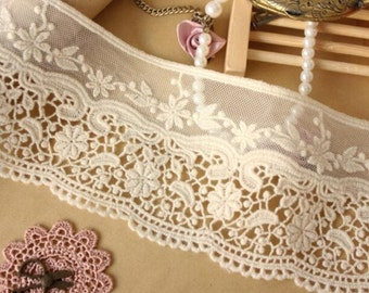 "Hight quality ivory white lace trim net yarn lace trim embroidery lace trim 3.15""wide x 2.2 yards long(xiaop)"