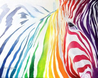Colorful Rainbow Zebra Abstract Modern Painting