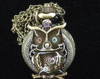 Heart owl Locket Watch