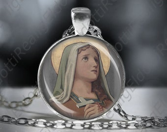 St. Lydwina Euphori Catholic Necklace Christian Medal Pendant Patron Saint Religious Jewelry