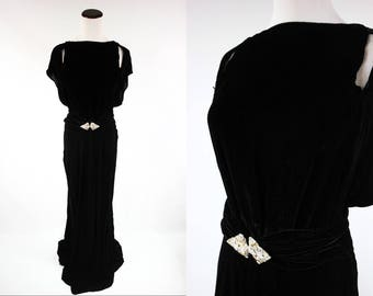 RESERVED for Adrienne! 1930's Black Velvet Evening Gown w/ Rhinestone Belt