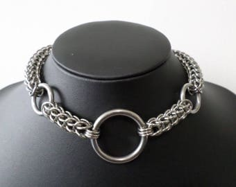 Full Persian Chainmail Triple O-Ring Choker - Chunky Stainless Steel Chainmaille Gothic O Ring Collar