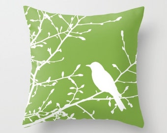 Bird on Branch pillow with insert Cover - Green Decor - Green pillow with insert Cover - Modern Home Decor - By Aldari Home
