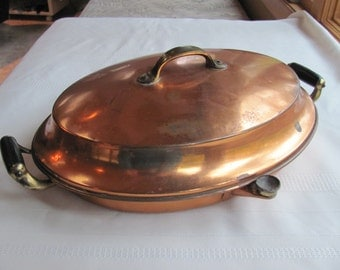 Covered copper dish with water resevoir, late 1800's