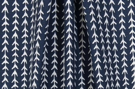 Rustic Indigo Arrow Vine Fabric by the Yard Designer Cotton Home ...