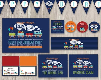 Chugga, Chugga Two Two Birthday Party Kit, Train Birthday, Train Party Decor, | Printable