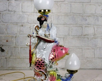 Exceptional Gorgeous Table Lamp Geisha Fish Porcelain Working