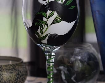 Panda bear wine glass, bear wine glass, panda bear glassware,panda bear eating bamboo wine glass, panda glass, hand painted Panda