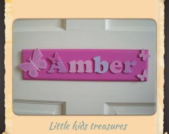 "Childrens hand made wooden name plaques / door signs -  Girls personalised up to 8 letters 12x3"" - Little kids treasures"