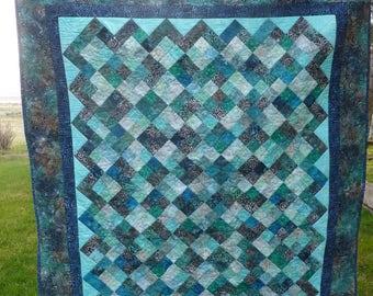 Deep Blue Sea Batik Lap Quilt  or Wall Hanging - FREE SHIPPING