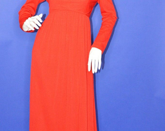 Vintage Estate Red Long Sleeve Maxi Dress